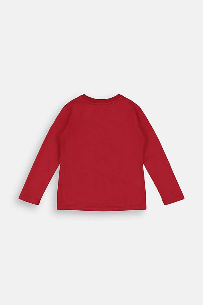 Printed long sleeve top in 100% cotton, CHERRY RED, detail image number 1