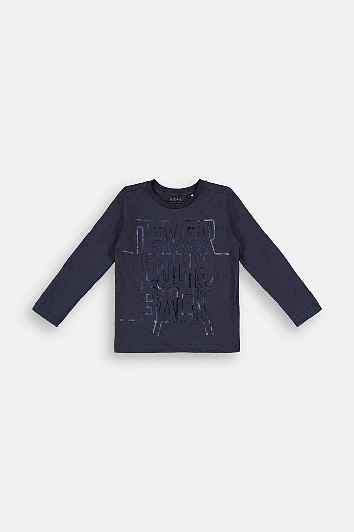 Print-Longsleeve aus 100% Baumwolle, NAVY, detail image number 0