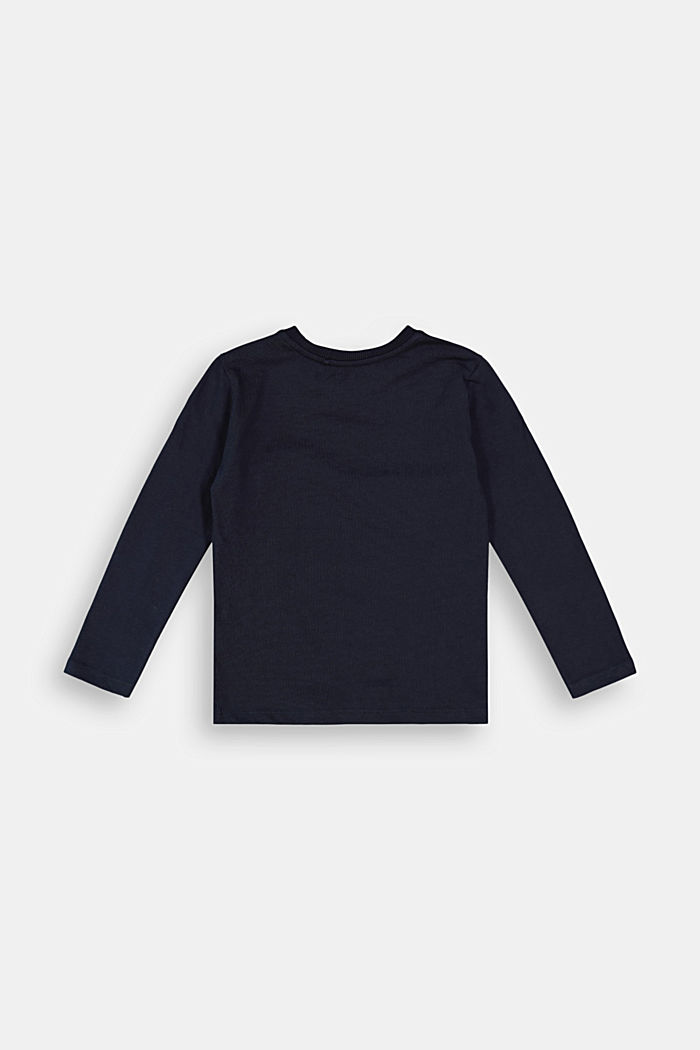 Printed long sleeve top, 100% cotton, NAVY, detail image number 1