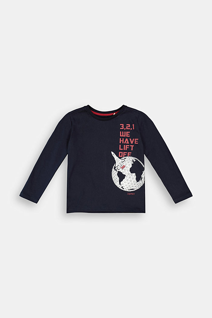 Printed long sleeve top, 100% cotton, NAVY, detail image number 0