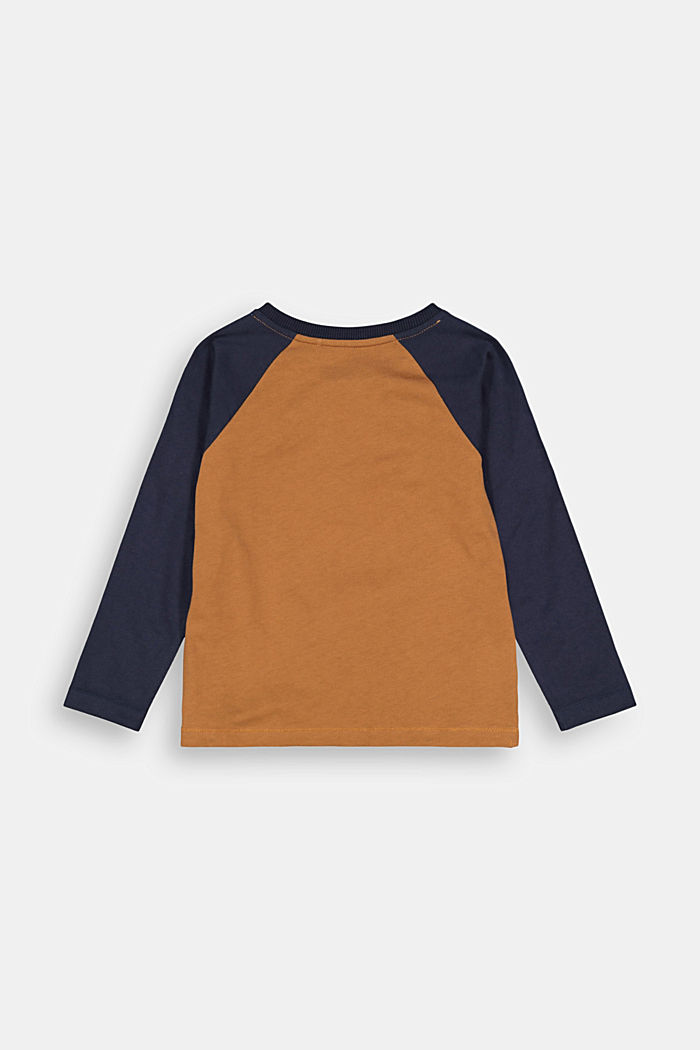 College-style long sleeve top, 100% cotton, TOFFEE, detail image number 1