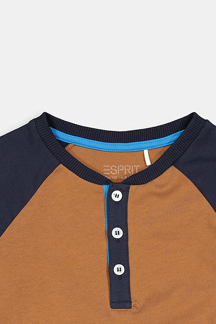 College-style long sleeve top, 100% cotton, TOFFEE, detail image number 2