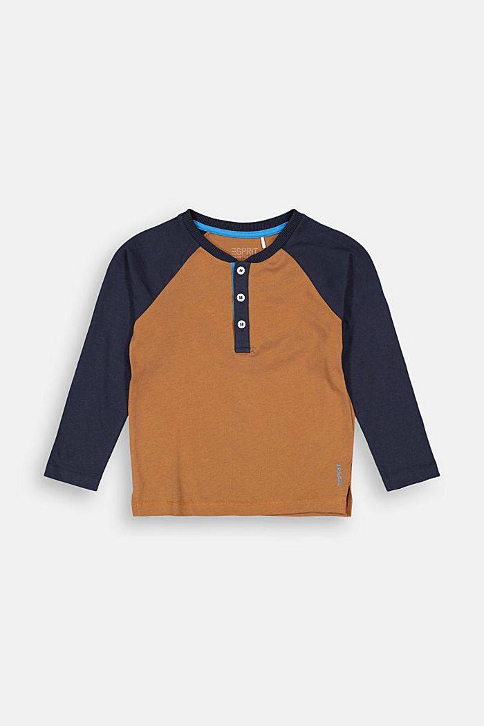 College-style long sleeve top, 100% cotton, TOFFEE, detail image number 0