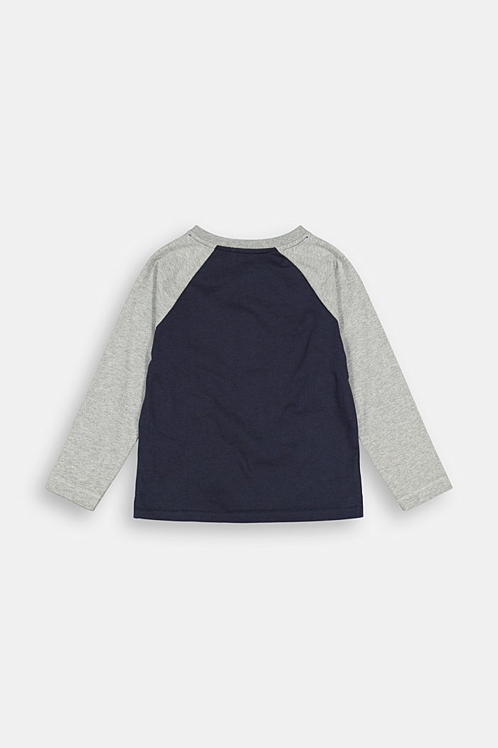 College-style long sleeve top, 100% cotton