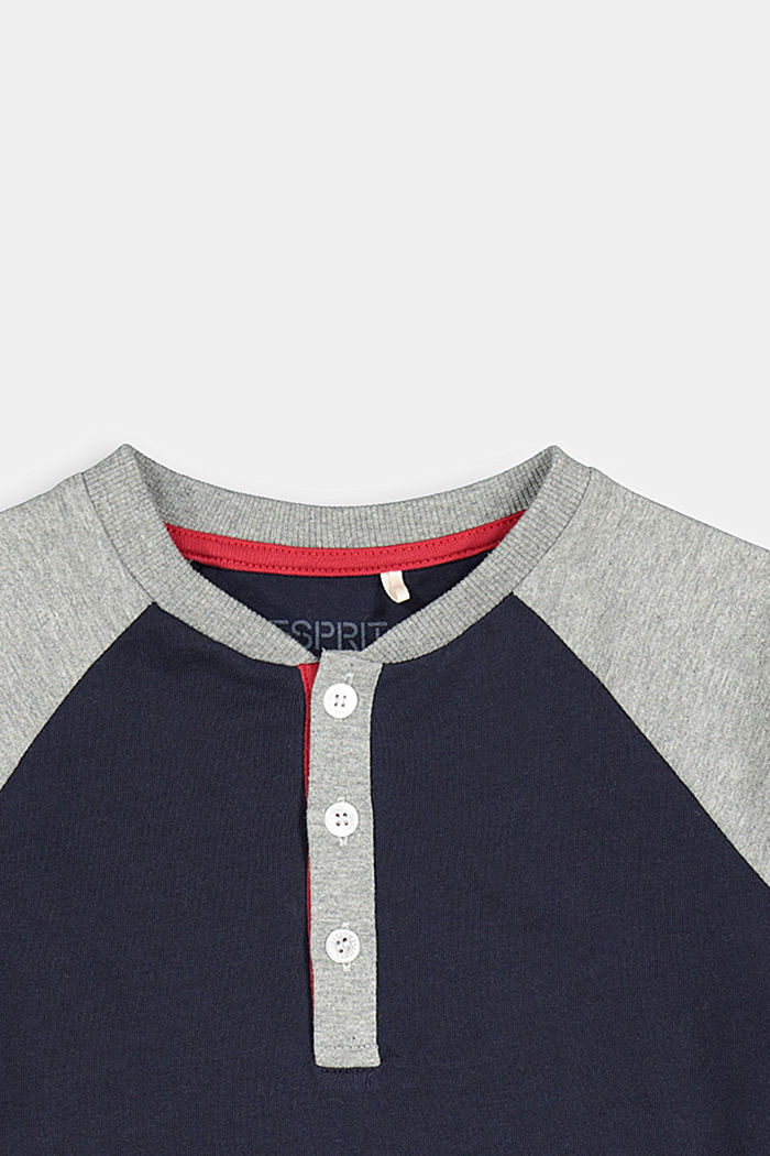 College-style long sleeve top, 100% cotton, NAVY, detail image number 2