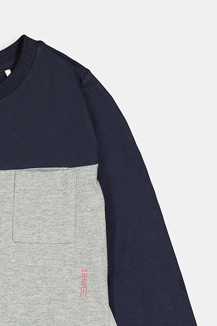 Colour block long sleeve top made of 100% cotton, DARK GREY, detail image number 2