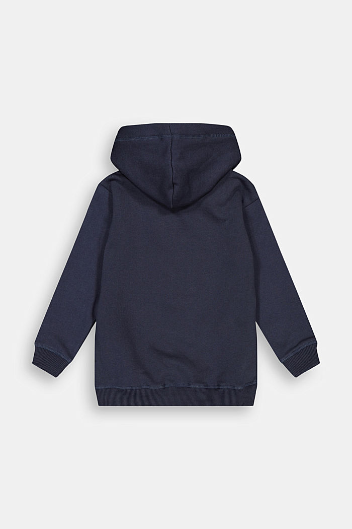 Sweatshirt cardigan in 100% cotton, NAVY, detail image number 1