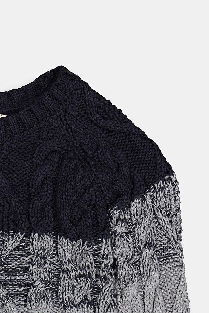 Zopstrick-Pullover mit Color Block, NAVY, detail image number 2