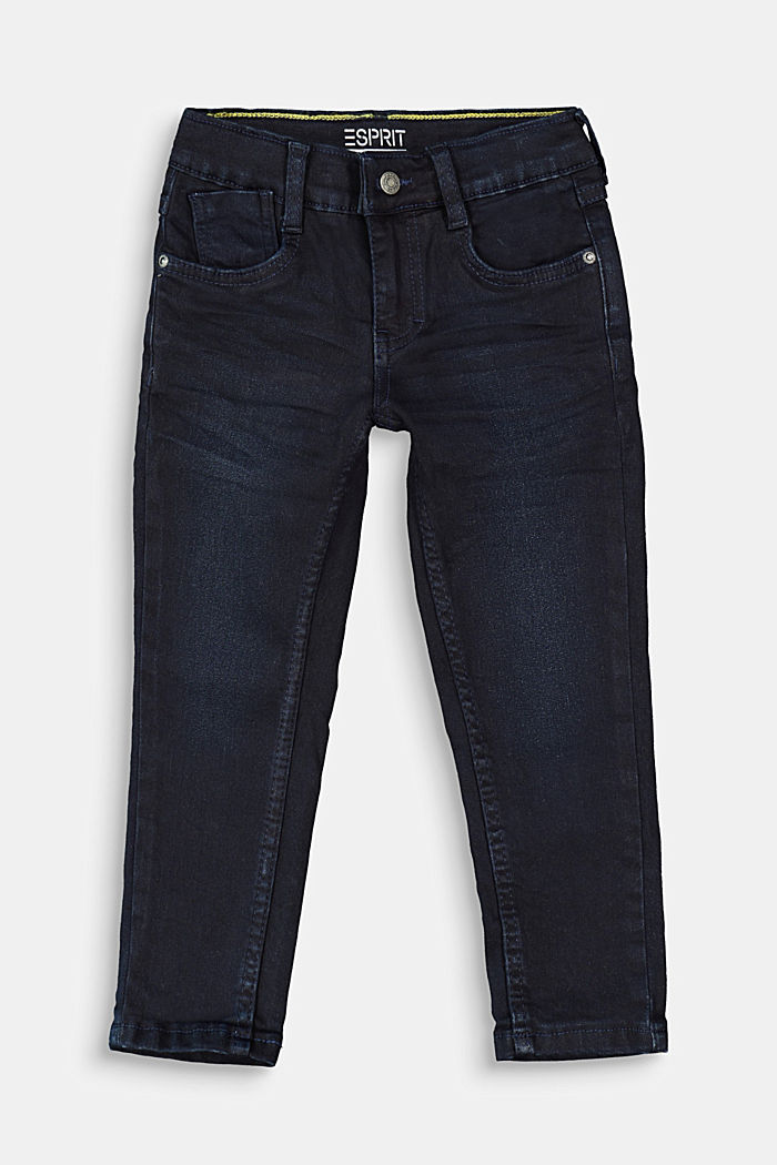 Jeans with a practical adjustable waistband, BLUE DARK WASHED, detail image number 0