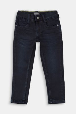 Jeans with a practical adjustable waistband, BLUE DARK WASHED, detail