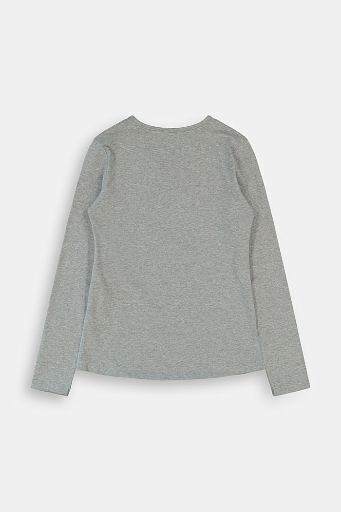 Long sleeve shirt with printed lettering, DARK GREY, detail image number 1