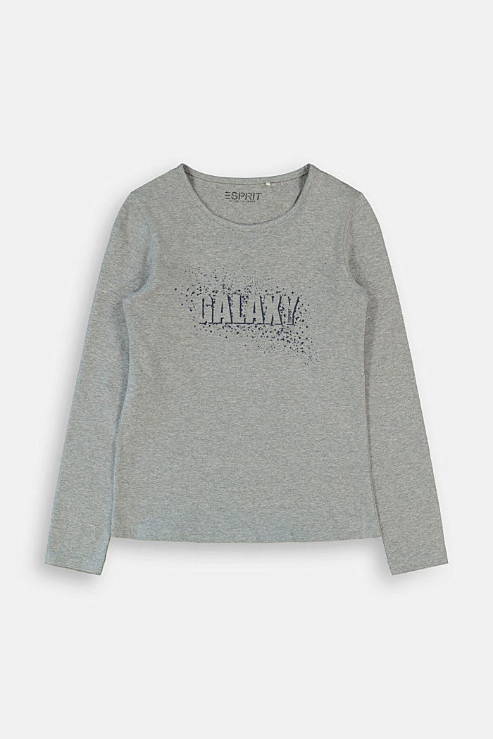 Long sleeve shirt with printed lettering, DARK GREY, detail image number 0