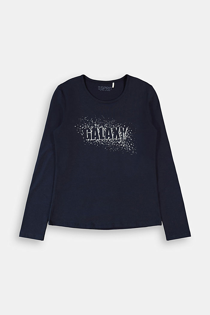 Long sleeve shirt with printed lettering, NAVY, detail image number 0