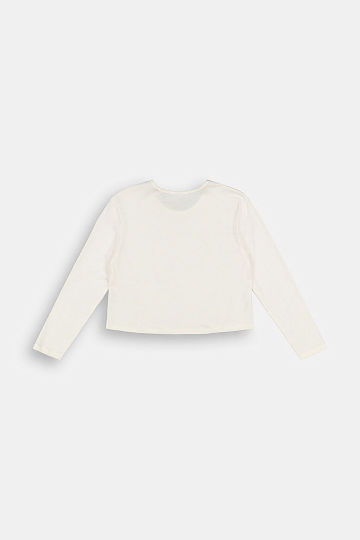 Long sleeve top with a glitter print, SKIN BEIGE, detail image number 1