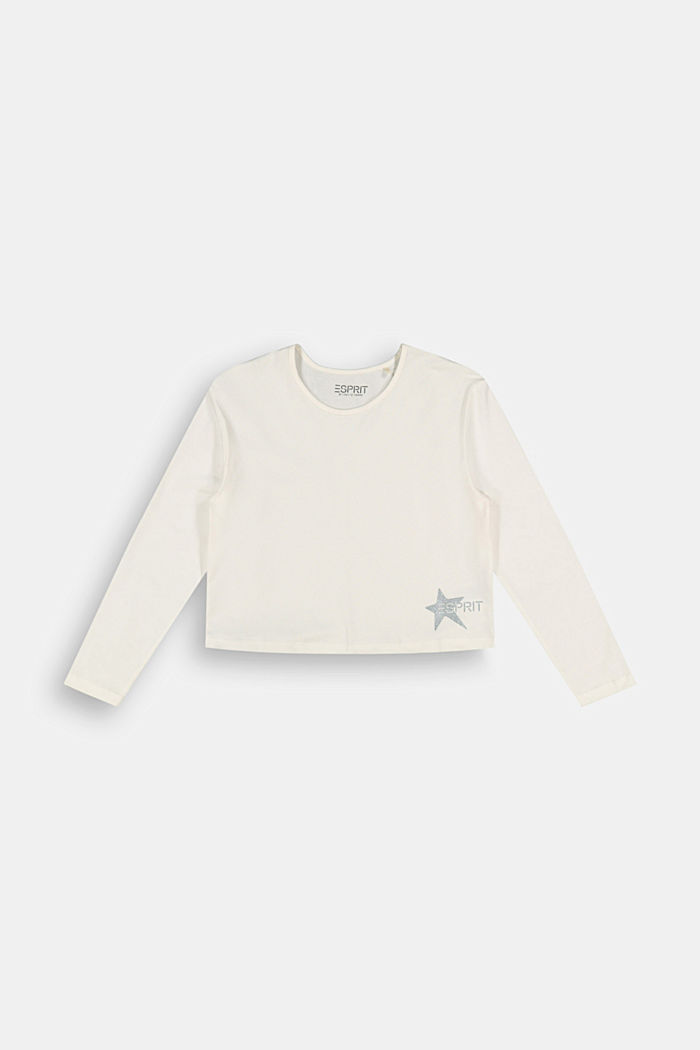 Long sleeve top with a glitter print, SKIN BEIGE, detail image number 0