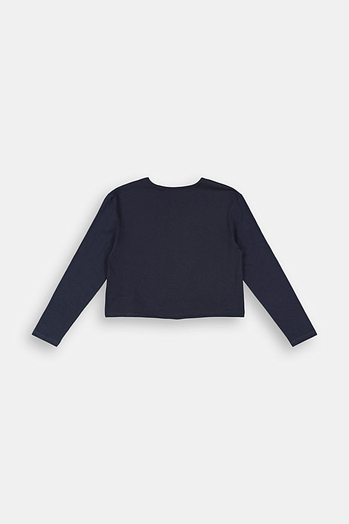 Long sleeve top with a glitter print, NAVY, detail image number 1
