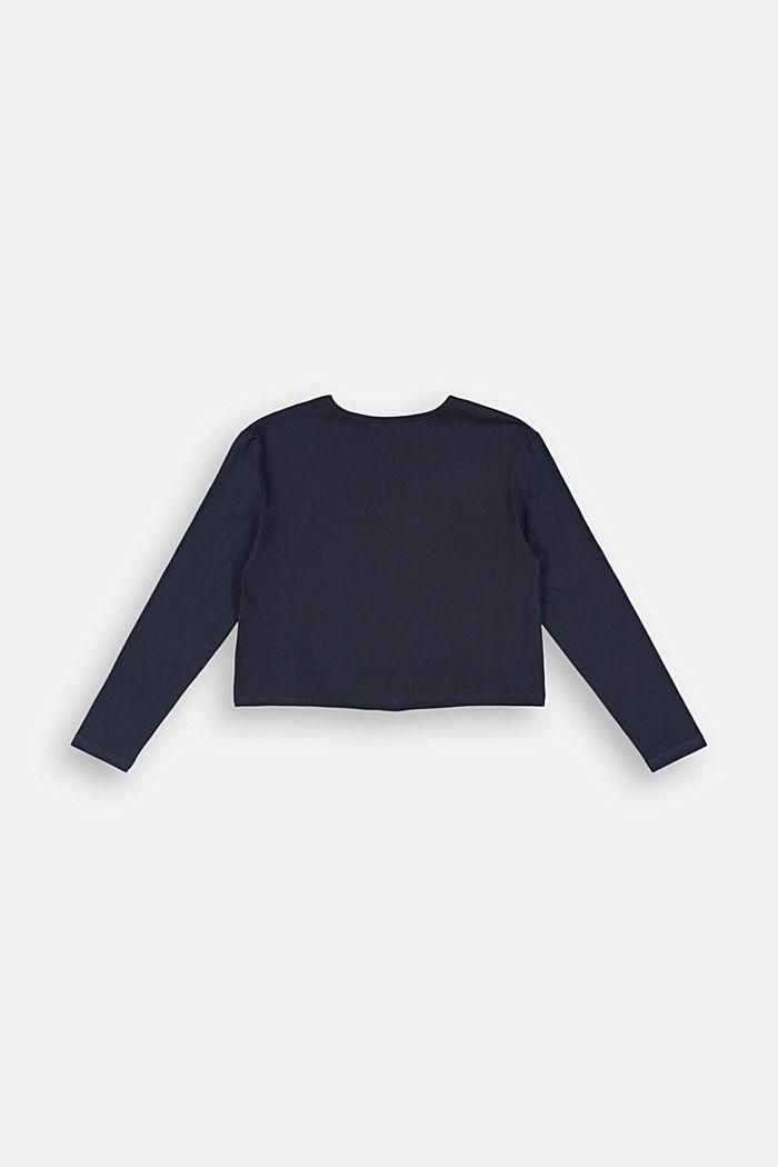 Camiseta de manga larga con estampado brillante, NAVY, detail image number 1