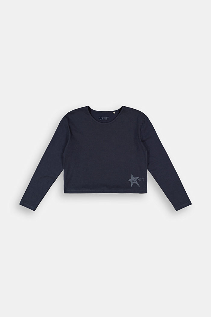 Long sleeve top with a glitter print, NAVY, detail image number 0