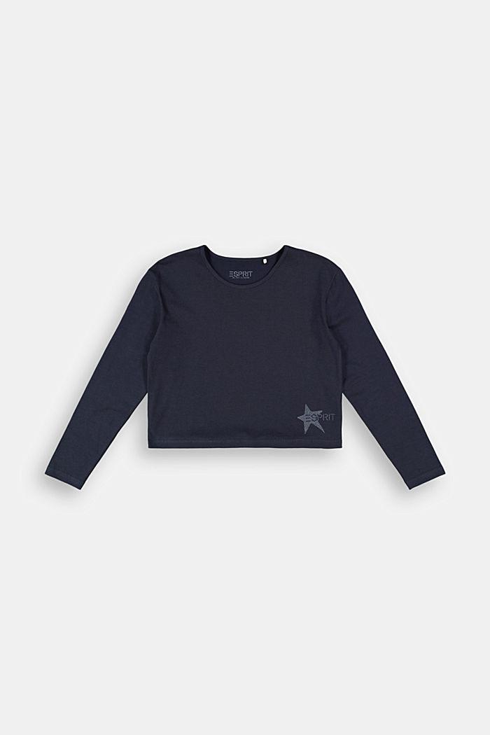 Camiseta de manga larga con estampado brillante, NAVY, detail image number 0