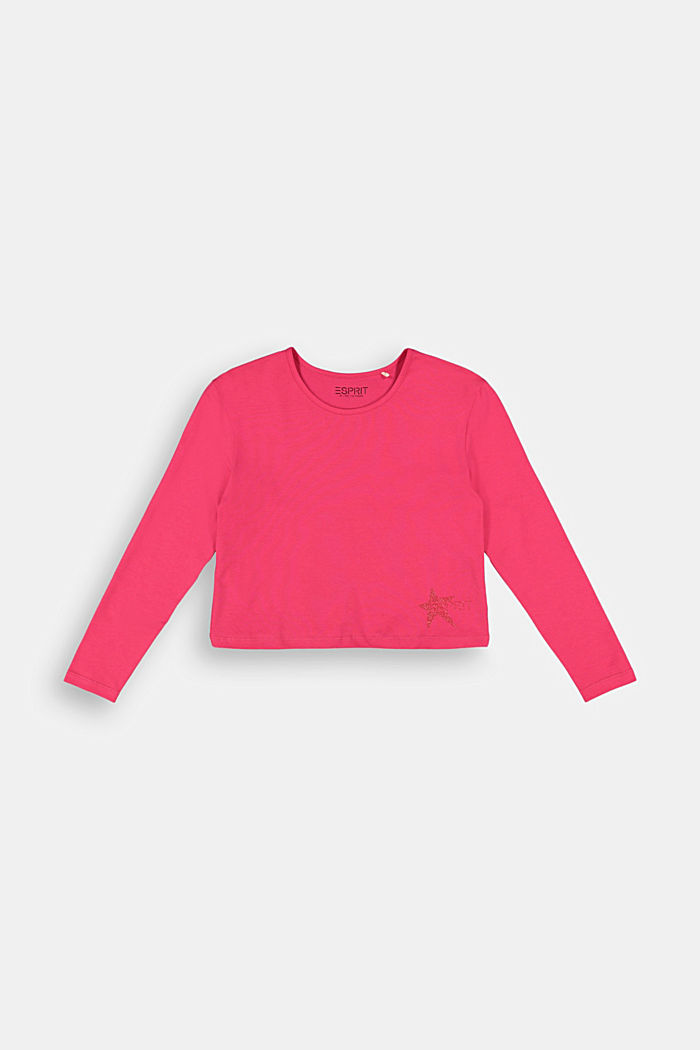 Long sleeve top with a glitter print, DARK PINK, detail image number 0