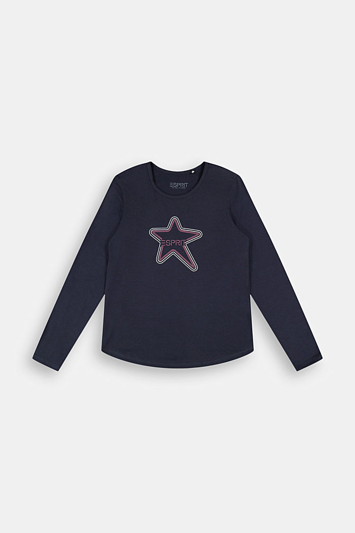 Long sleeve top with a logo print, NAVY, detail image number 0