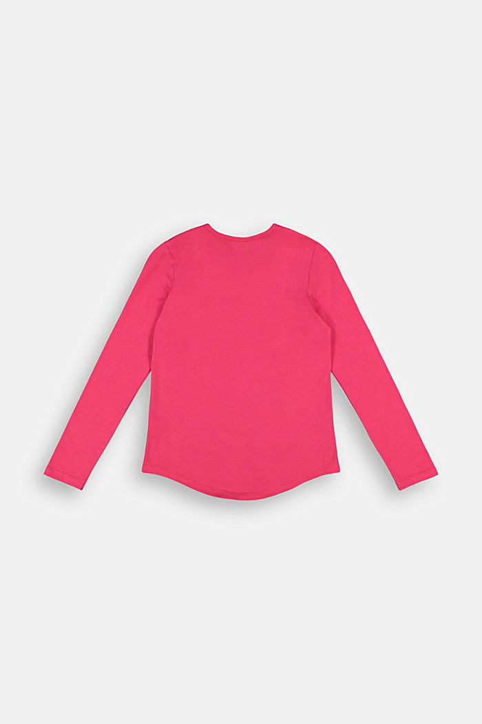 Long sleeve top with a logo print, DARK PINK, detail image number 1