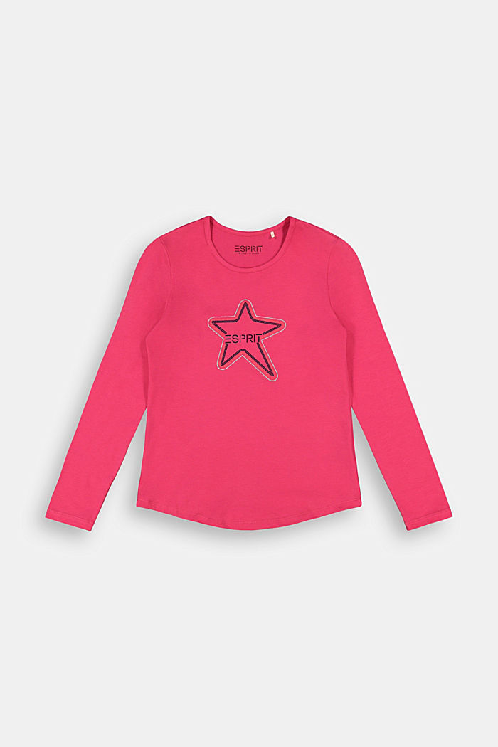 Long sleeve top with a logo print, DARK PINK, detail image number 0