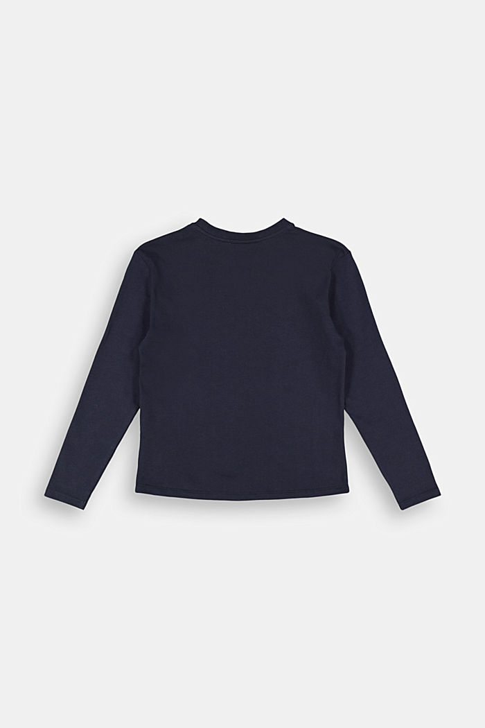 Cotton long sleeve top with a metallic print, NAVY, detail image number 1