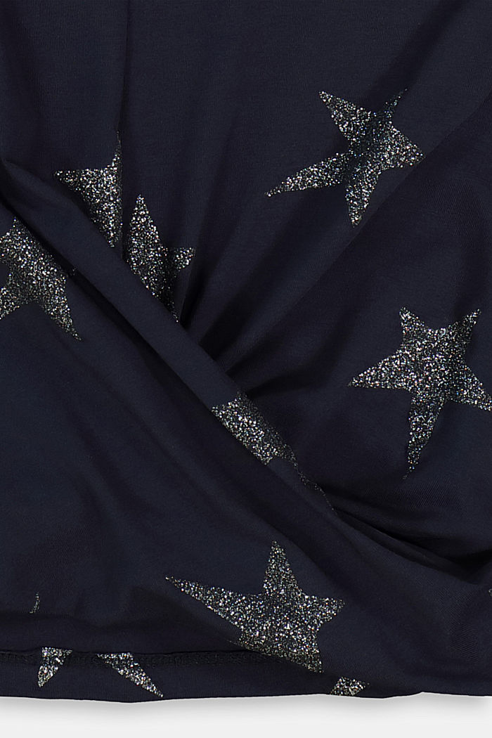Long sleeve top with a glitter print, NAVY, detail image number 2