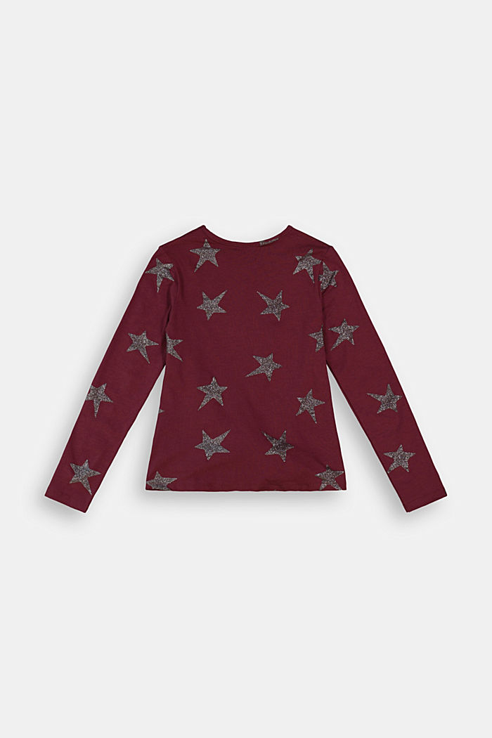 Long sleeve top with a glitter print, PLUM RED, detail image number 1
