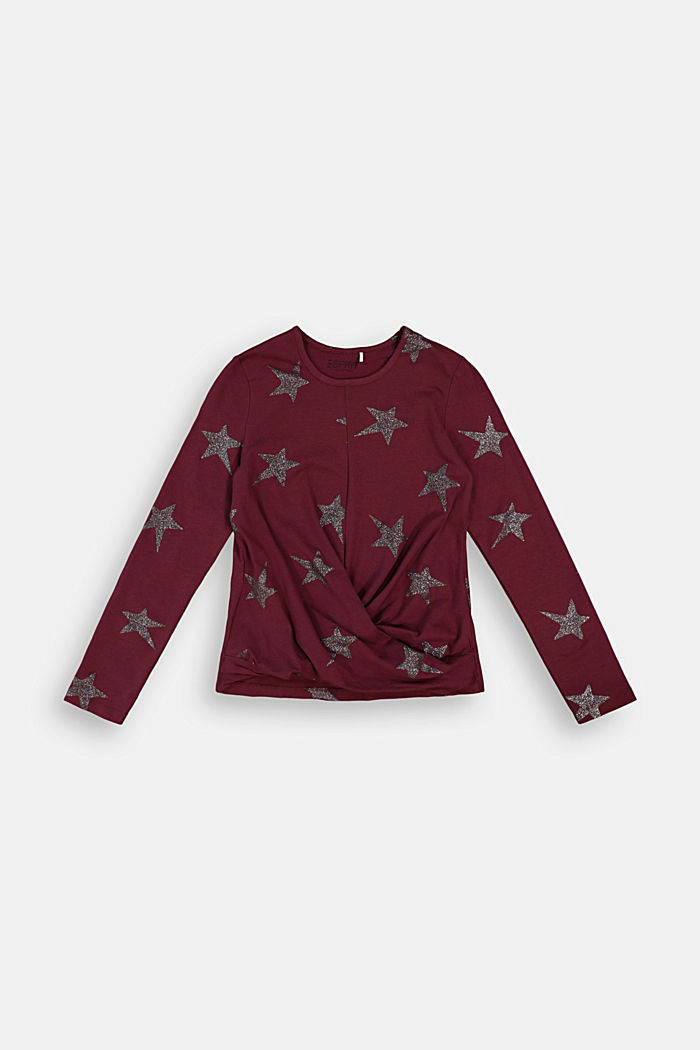 Long sleeve top with a glitter print, PLUM RED, detail image number 0
