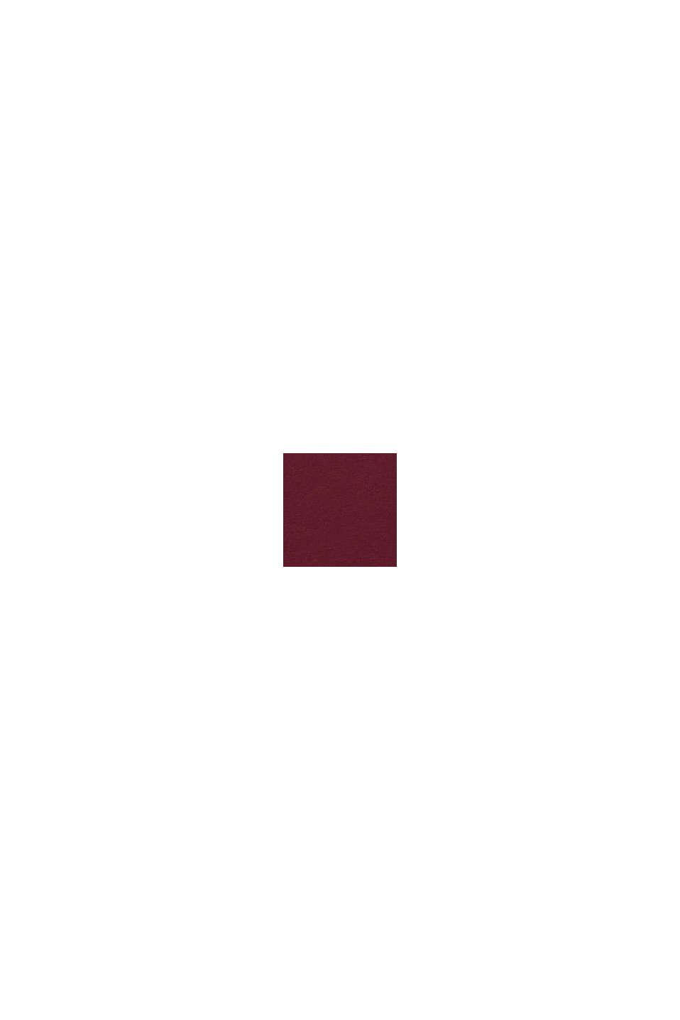Bluzka z długim rękawem i błyszczącym nadrukiem, PLUM RED, swatch