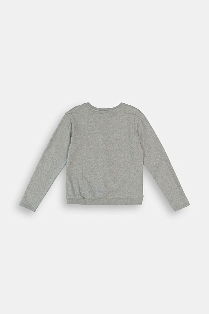 Long sleeve top with gathering, 100% cotton, DARK GREY, detail image number 1