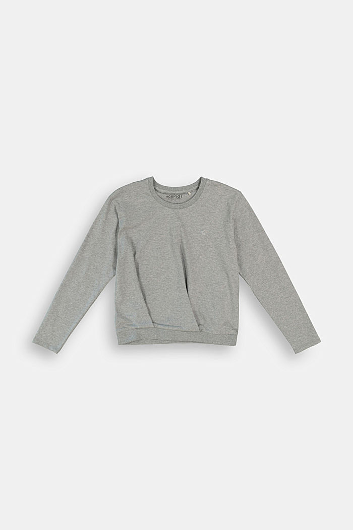 Long sleeve top with gathering, 100% cotton, DARK GREY, detail image number 0