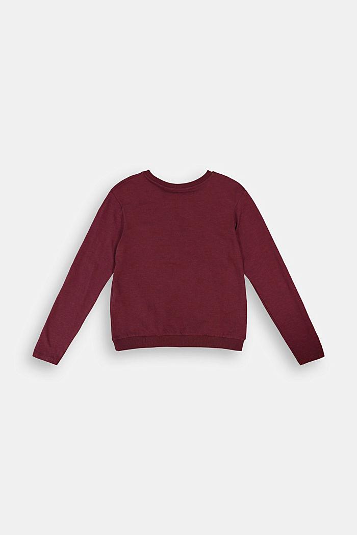 T-shirt à manches longues et fronce, 100% coton