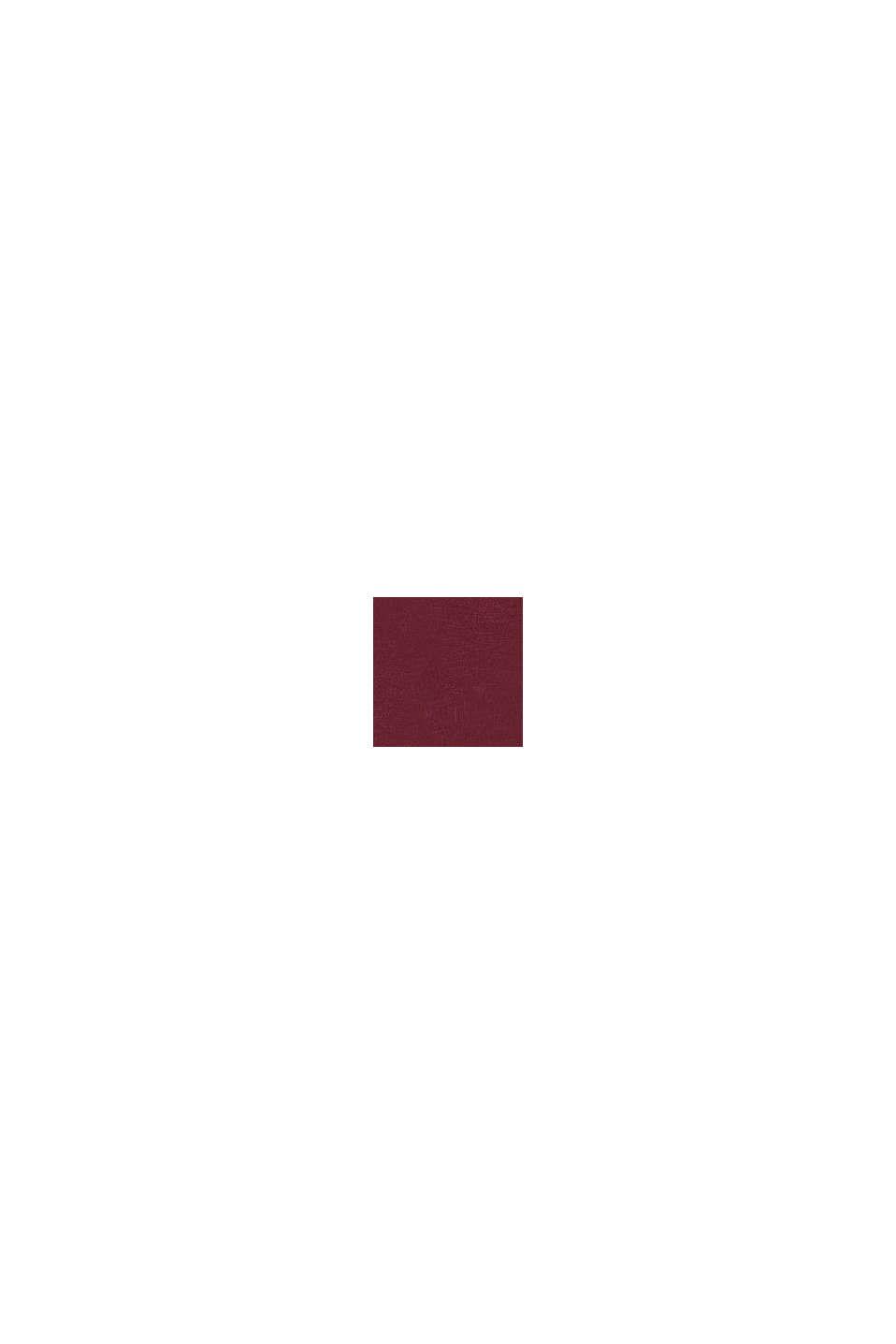 Longsleeve mit Raffung, 100% Baumwolle, PLUM RED, swatch