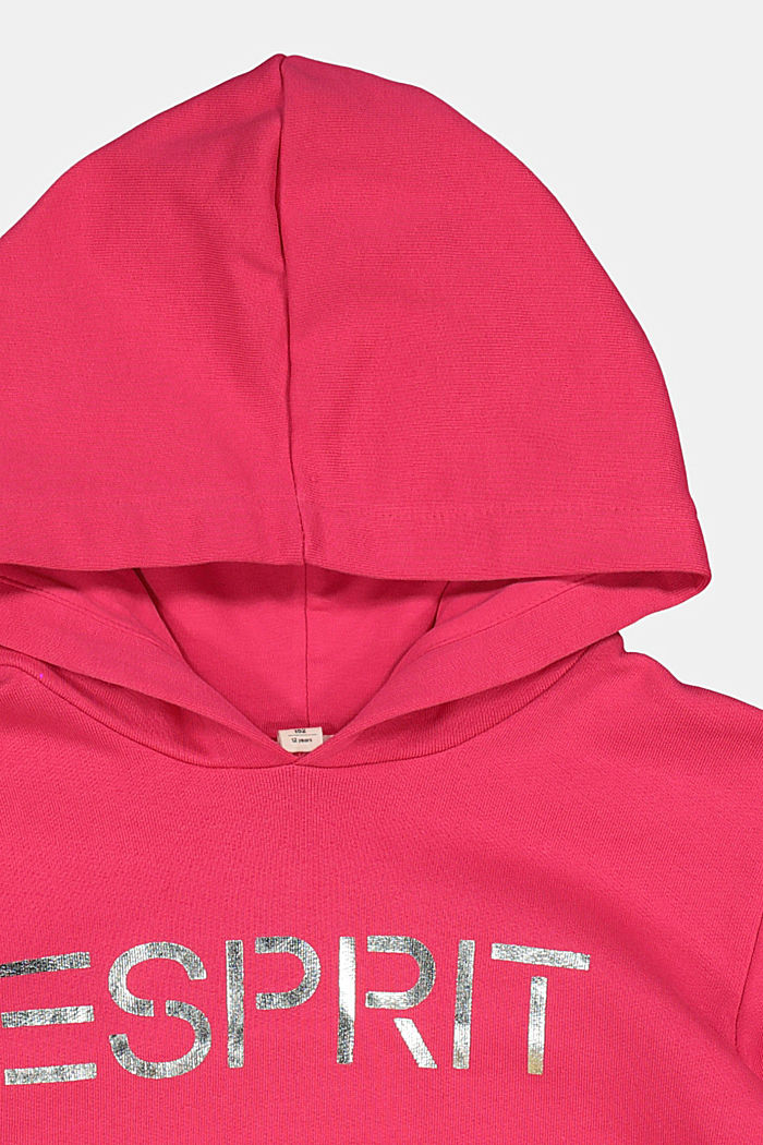 Hoodie mit Logo-Print aus 100% Baumwolle, DARK PINK, detail image number 2