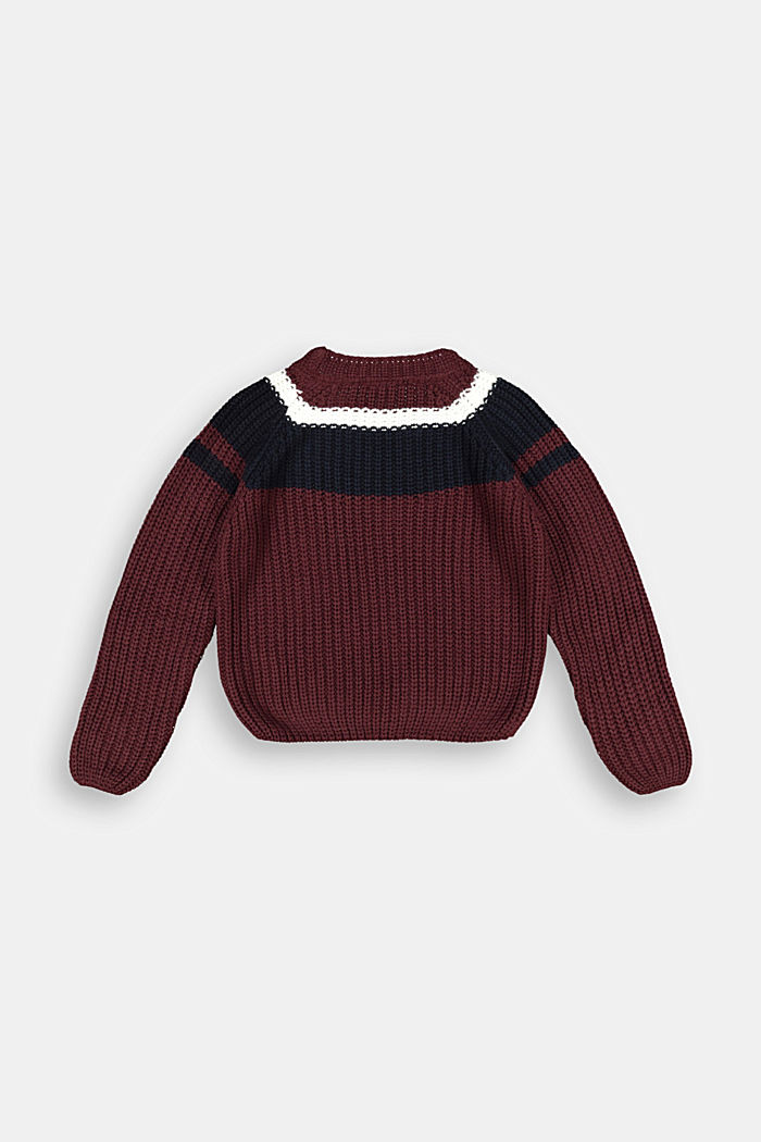 Jumper with colour block stripes, PLUM RED, detail image number 1