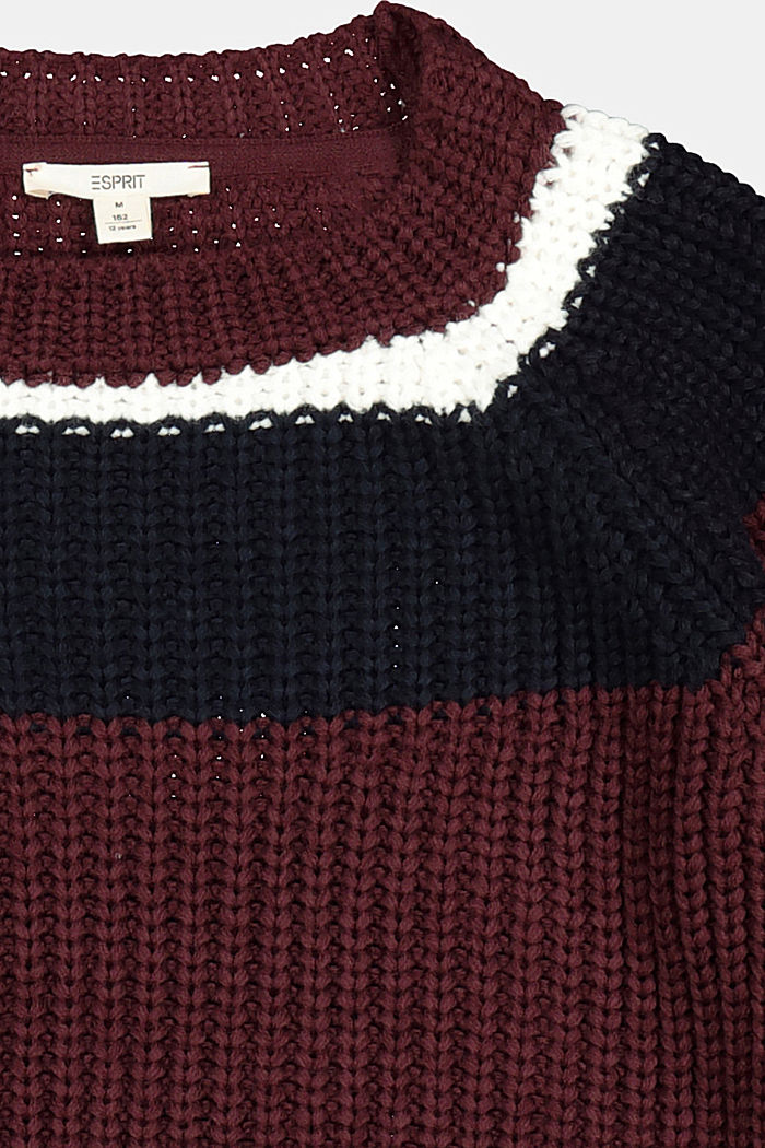 Jumper with colour block stripes, PLUM RED, detail image number 2