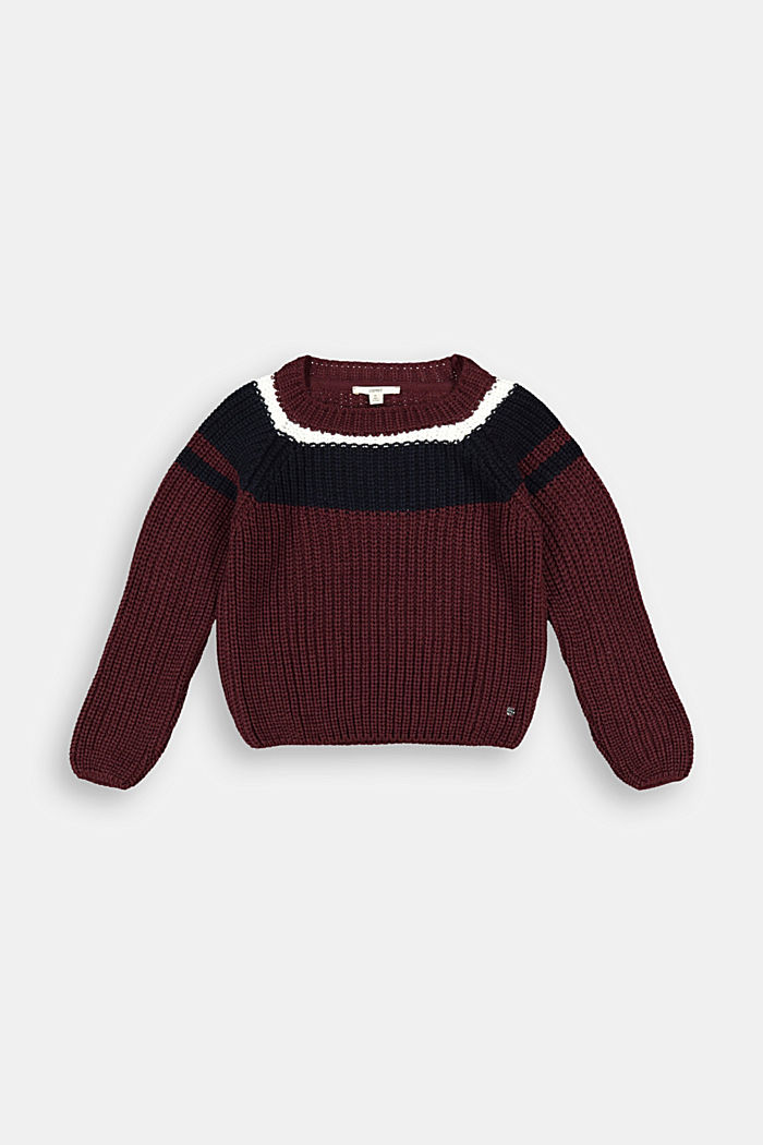 Jumper with colour block stripes, PLUM RED, detail image number 0
