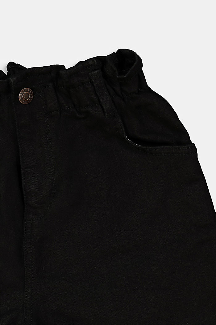 Denim shorts with paper bag waistband, BLACK DARK WASHED, detail image number 1