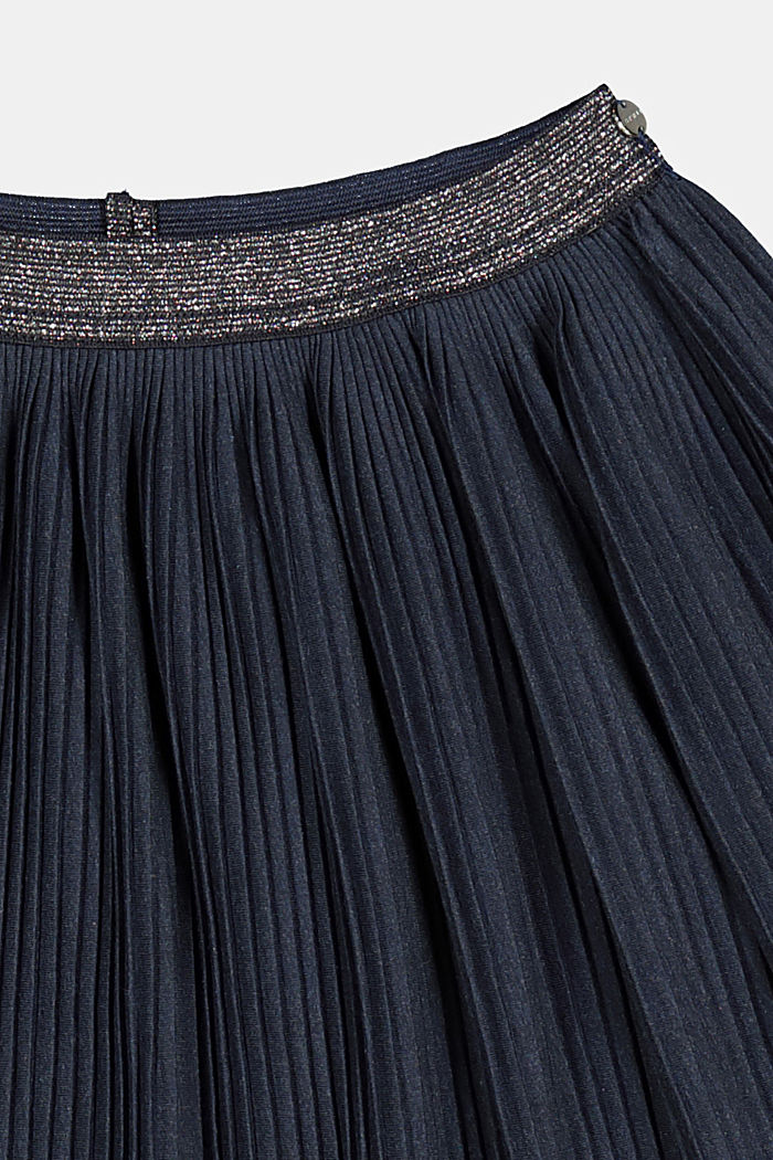 Pleated skirt made of melange jersey, NAVY, detail image number 2