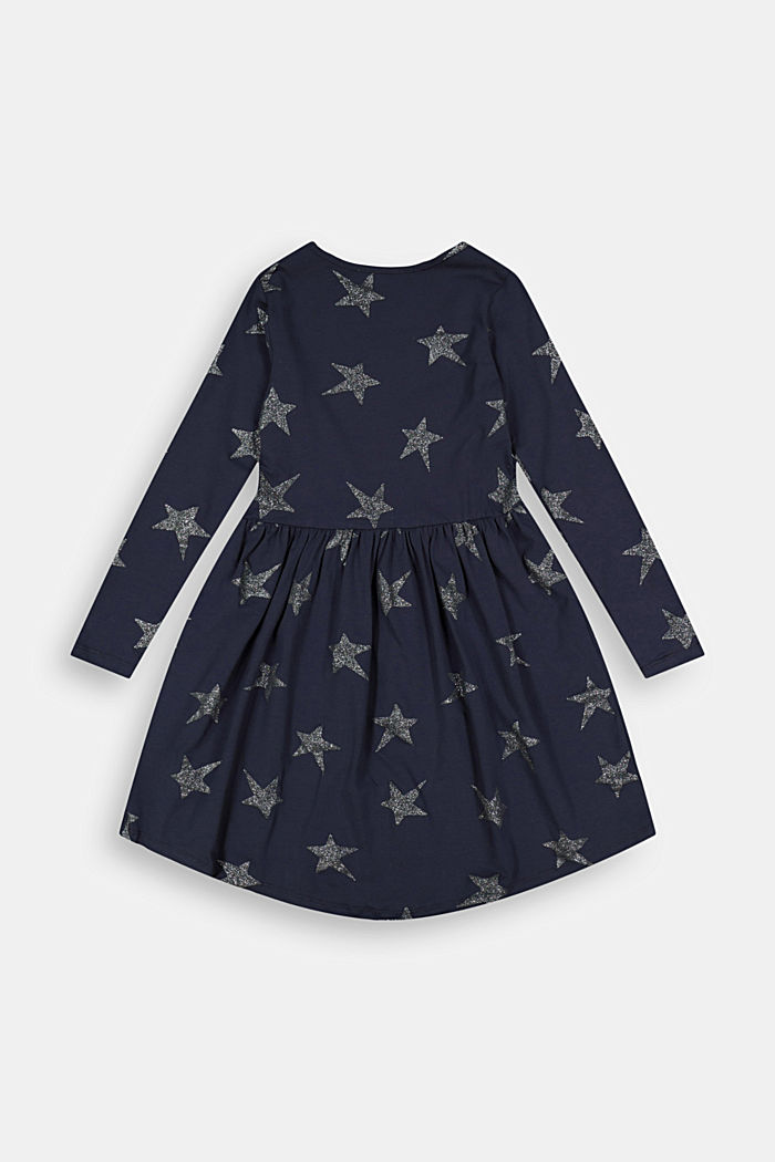 Jersey dress with a glittering star print, NAVY, detail image number 1