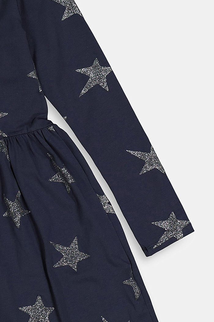 Jersey dress with a glittering star print, NAVY, detail image number 2