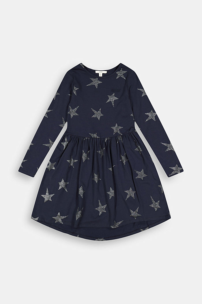 Jersey dress with a glittering star print, NAVY, detail image number 0