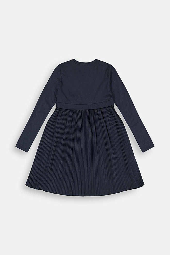 Jersey dress with a pleated skirt, NAVY, detail image number 1