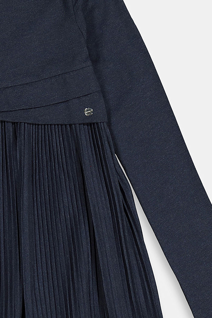 Jersey dress with a pleated skirt, NAVY, detail image number 2
