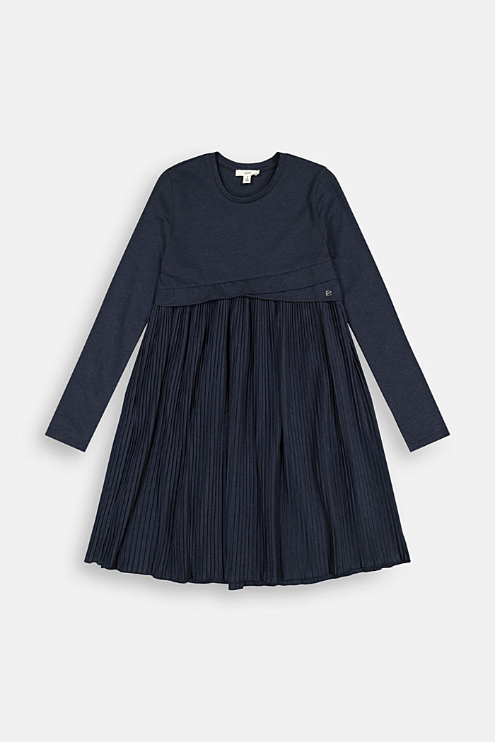 Jersey dress with a pleated skirt, NAVY, detail image number 0