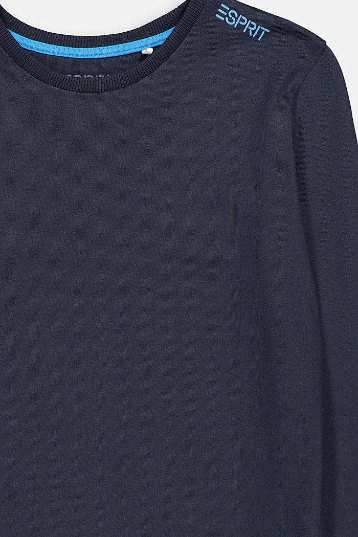 Printed long sleeve top in 100% cotton, NAVY, detail image number 2