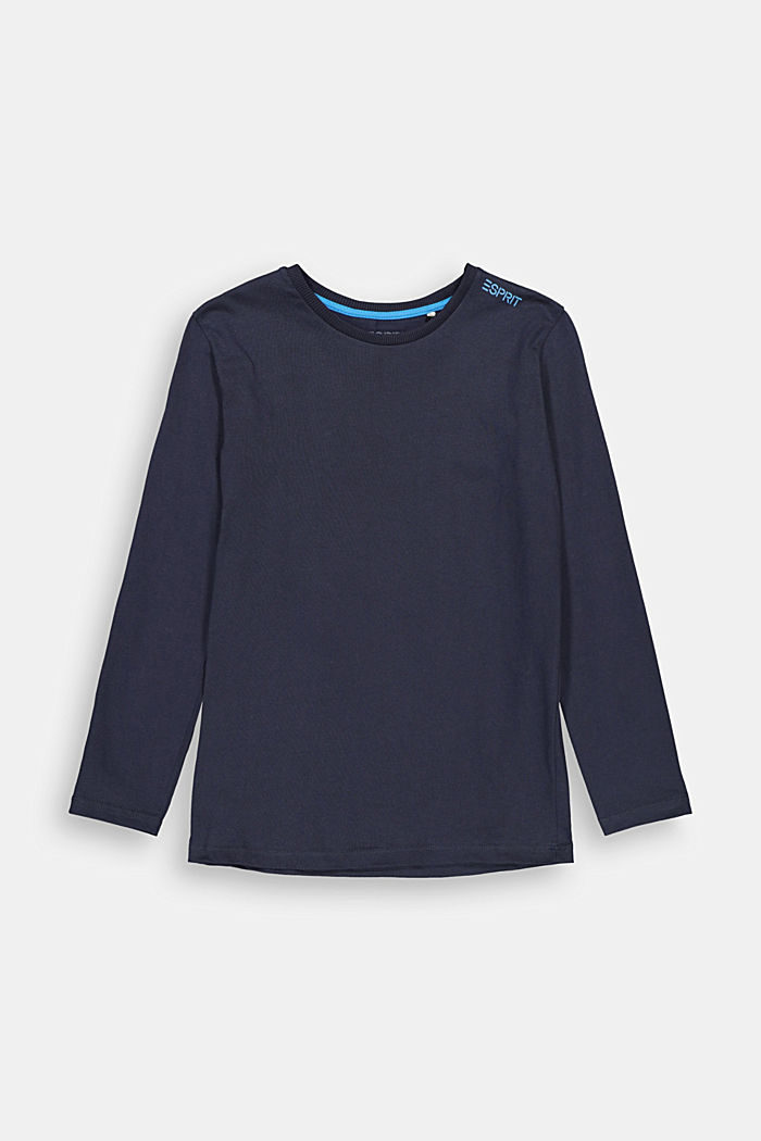 Printed long sleeve top in 100% cotton, NAVY, detail image number 0